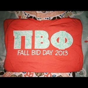 Pi Beta Phi recruitment shirt orange mint